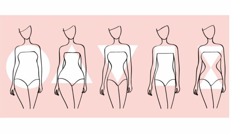Cinci manechine stilizate care ilustrează forma corpului si tipul de siluetă.
