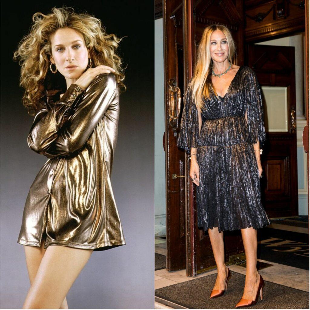 Sarah jessica Parker îmbrăcată într-o cămașă aurie în timpul filmărilor pentru Sex and the City