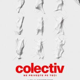 Afișul de prezentare al documentarului Colectiv cu trupuri de oameni ascunse sub cearceaf