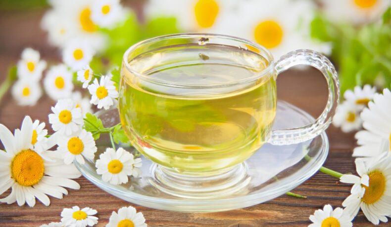 O ceașcă transparentă de ceai de mușețel pe o masă pe care sunt așezate flori de mușețel