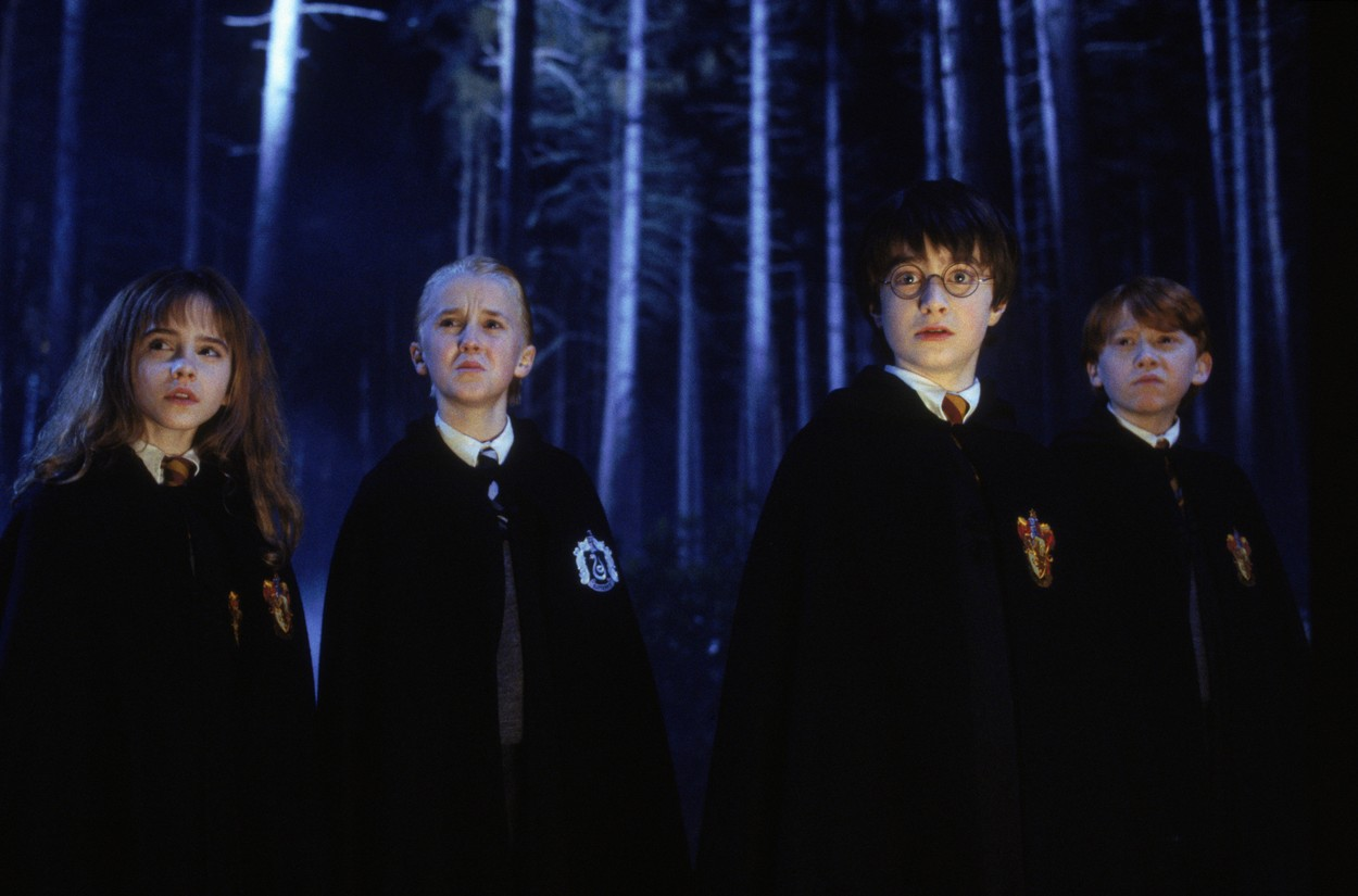 Tom Felton, Daniel Radcliffe, Emma Charlotte și Ron Weasley în Harry Potter
