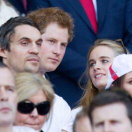 Cressida Bonas și Prințul Harry la un meci de rugby în Londra