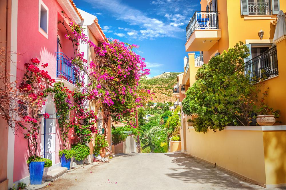 O stradă luminoasă între două case, una roz cu flori de aceeși culoare și una galbenă cu pomi verzi