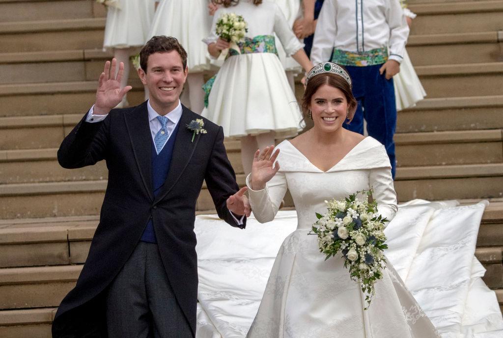 Prințesa Eugenie și soțul ei, Jack Brooksbank, la nunta lor, în 2018