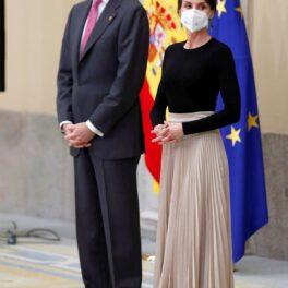 Regina Letizia și Regele Felipe, la un eveniment oficial la Palatul Pardo din Madrid
