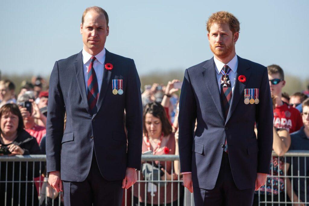 Prințul William, alături de fratele său, îmbrăcați în costume de culoare albastru închis și medalii pe piept