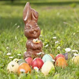 Un iepuraș de ciocolată în iarbă lângă câteva ouă colorate