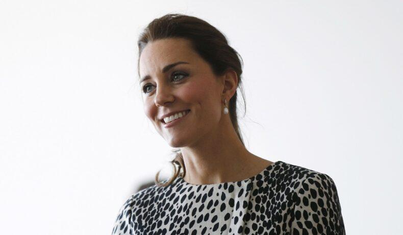 Alegerea vestimentară a lui Kate Middleton în acest portret este o bluză albă cu buline negre și o pereche superbă de cercei perle