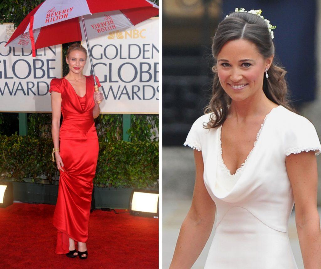 """Cameron Diaz și """"Pippa"""" Middleton poartă același model de rochie. Diferă doar culorile. Actrița a ales culoarea roșie, iar celebra jurnalistă a preferat albul."""