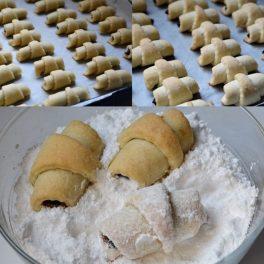 Cornulețe de post coapte și pudrate cu zahăr