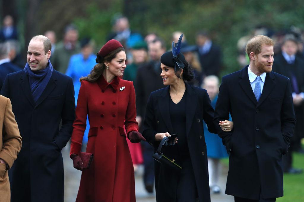 Ducii de Cambridge alături de Ducii de Sussex, în drum spre biserică, în ziua de Crăciun, în anul 2018