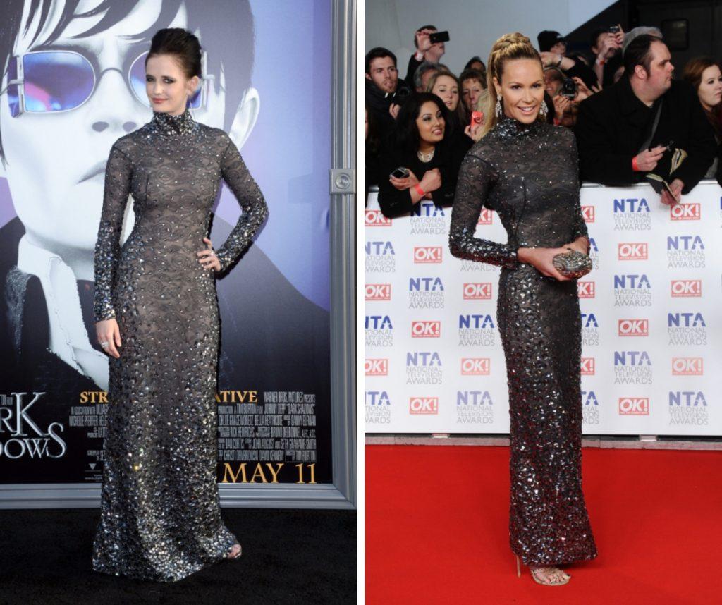 Eva Green și Elle Macpherson poartă acceași rochie lungă până în pământ, cu mâneci lungi, cu detalii strălucitoare.