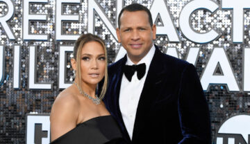 Jennifer Lopez și Alex Rodriguez la Screen Actors Guild Awards, pe covorul roșu