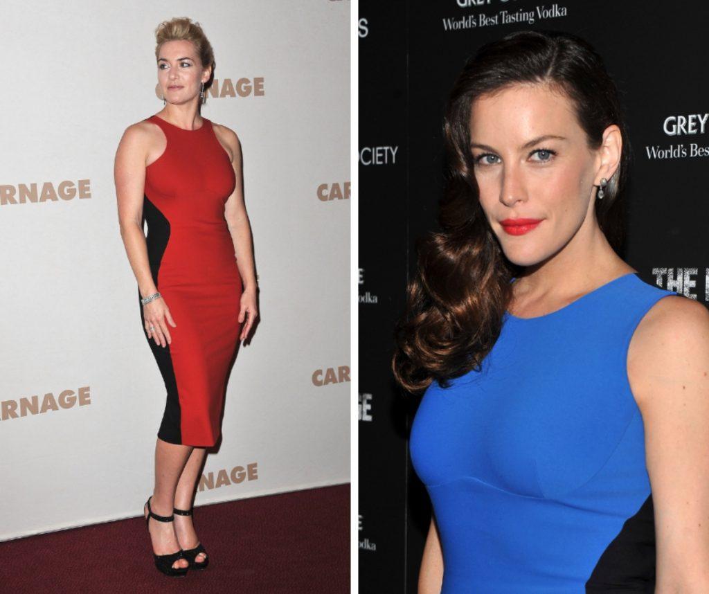 Kate Winslet și Liv Tyler poartă un model de rochie mulată, fără mâneci, la care diferă culorile, roșu la celebra actriță, respectiv albastru pentru fiica solistului formației Aerosmith