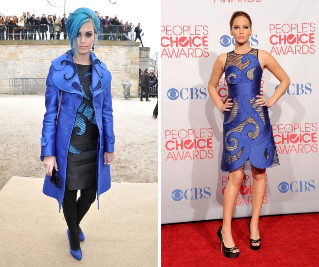 Katy Perry și Jennifer Lawrence poartă o rochie albastră la evenimente diferite. Cântărreața are de asemenea și părul de aceeași culoare.