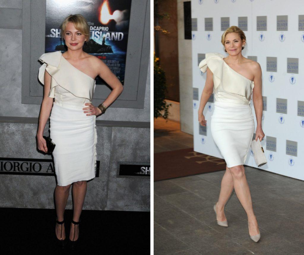 Michelle Williams și Kim Cattrall poartă același model de rochie: albă, cu volănaș în față, mulată. Ambele au asortat-o cu geantă-plic.
