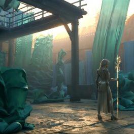 O încăpere amabdonată în care apare Angelina Jolie în rolul zeiței Thena din noua producție Eternals