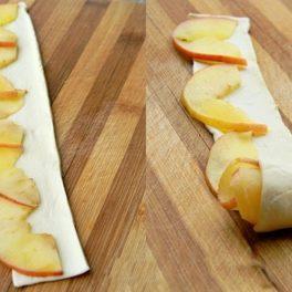 Peste fâșii de aluat se așază felii de mere și se rulează