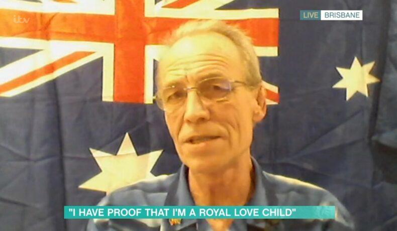Simon Charles Dorante-Day, în timpul unui interviu în care spune că are dovezi că este fiul Prințului Charles și al Camillei Parker