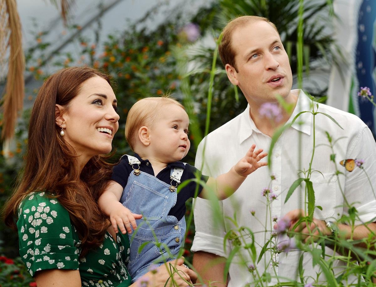 Ducesa de Cambridge, care își ține în brațe copilul, Prințul George, alături de soțul ei, Prințul William în timp ce privesc fluturii la expoziția Sensational Butterflies de la muzeul național de istorie naturală din Londra în 2014, când Kate Middleton și-a fotografiat și copiii