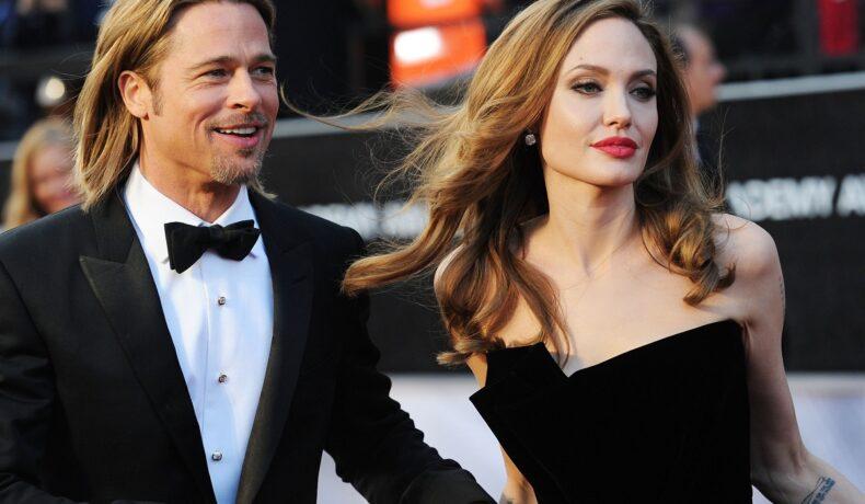 Brad Pitt îmbrăcat la frac alături de fost sa soție Angelina Jolie la Annual Academy Awards în anul 2012