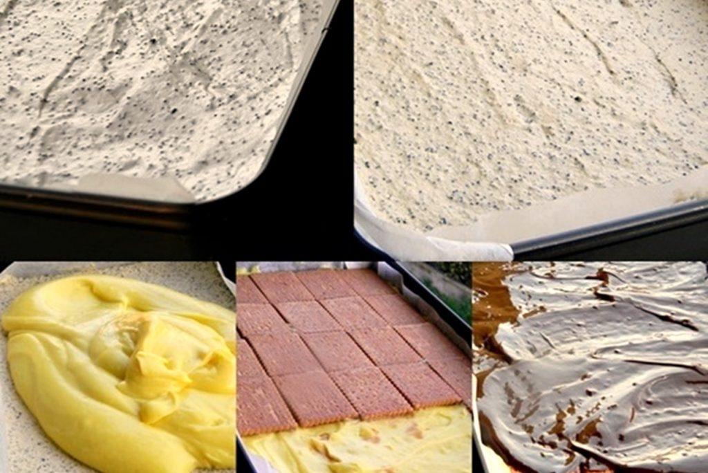 Colaj de poze cu pașii de preparare pentru prăjitura Tosca
