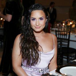 Demi Lovato a avut numeroase aparitii publice în anul 2017, ănainte să dezvăluie că e non-binară, rochie mov, fundal sala de mese, par lung