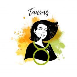 Zodia Taur ilustrată sub forma chipului unei femei cu părul tuns bob, având în spate un fundal în culorile portocaliu, verde deschis și galben.