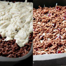 Colaj cu poze din timpul asamblării în tavă a prăjiturii cu cireșe și cremă de brânză cu vanilie
