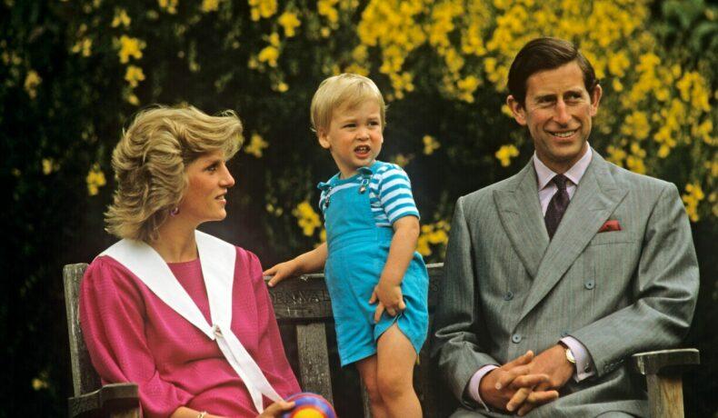 Prințesa Diana și Prințul Charles, alături de Prințul William, într-o fotografie de familie, la curtea Palatului Buckingham