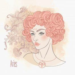 Ilustrația semnului zodiacal Berbec sub forma unei femei frumoase, cu părul scurt și creț, colorat într-o nunață caldă de roz.