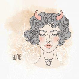 Ilustrația semnului zodiacal Taur sub forma unei femei frumoase, cu părul scurt, ondulat și închis la culoare.