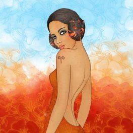O femeie frumoasă cu părul strâns în două cocuri mici ilustrează zodia Berbec.
