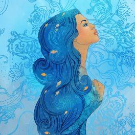o femeie frumoasă, cu părul lung și albastru, ilustrează zodia Vărsător.