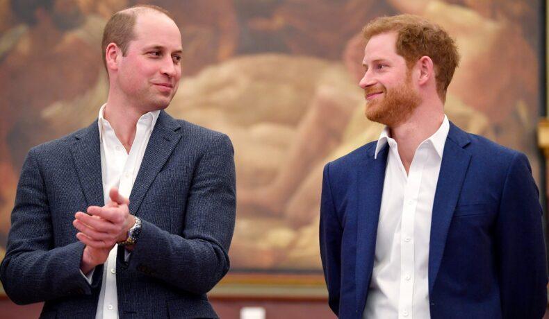 Printii William și Harry, 2018, la Greenhouse Sports Centre, ambii în costum, înainte să existe ruptura dintre cei doi