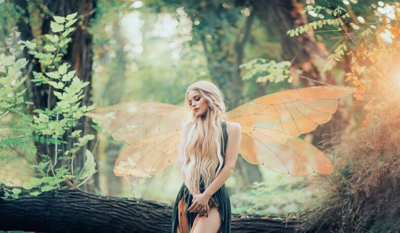 Un cadru feeric într-o pădure cu o zână superbă cu aripi care privește melancolică în timp ce se întreabă ce îl face pe bărbatul ideal să te iubească pentru totdeauna