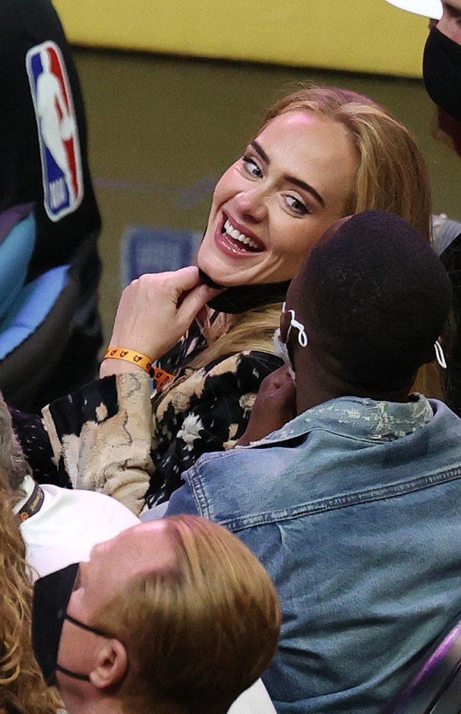 Adele și nou ei iubit, agentul Rich Paul, la un meci de baschet, în 2021