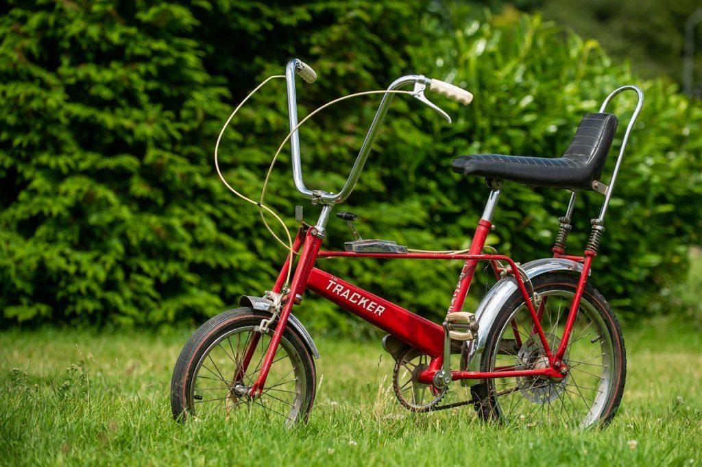 Bicicleta roșie a Prințesei Diana din copilărie într-o grădină înverzită