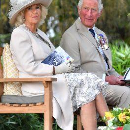 Camilla și Prințul Charles, la un eveniment cu tradiție pentru Marea Britanie, în august 2020, îmbrăcați elegant, în timp ce stau într-o grădină, pe canapea