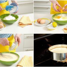 Colaj de poze cu pașii de preparat crema de brânză