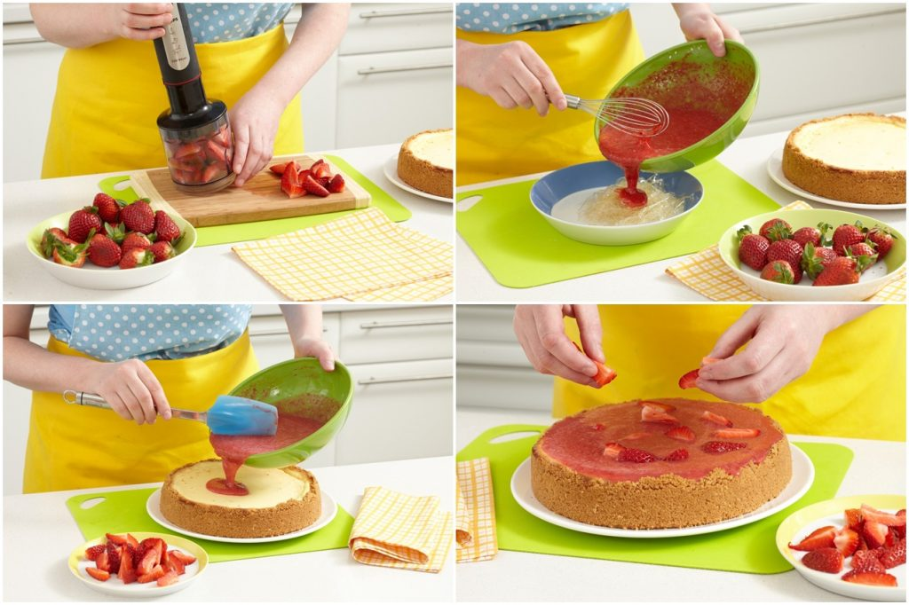 Colaj de poze cu pașii de preparat jeleul de căpșuni
