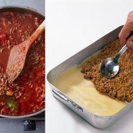 Colaj de poze cu pașii de preparare lasagna bolognese