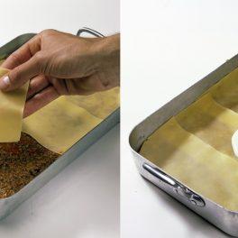 Colaj de poze cu pașii de asamblare a rețetei de lasagna bolognese