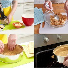 Colaj de poze cu pașii de preparare strat de biscuiți pentru cheesecake