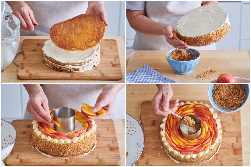 Colaj de poze cu pașii de asamblare a tortului rusesc cu miere