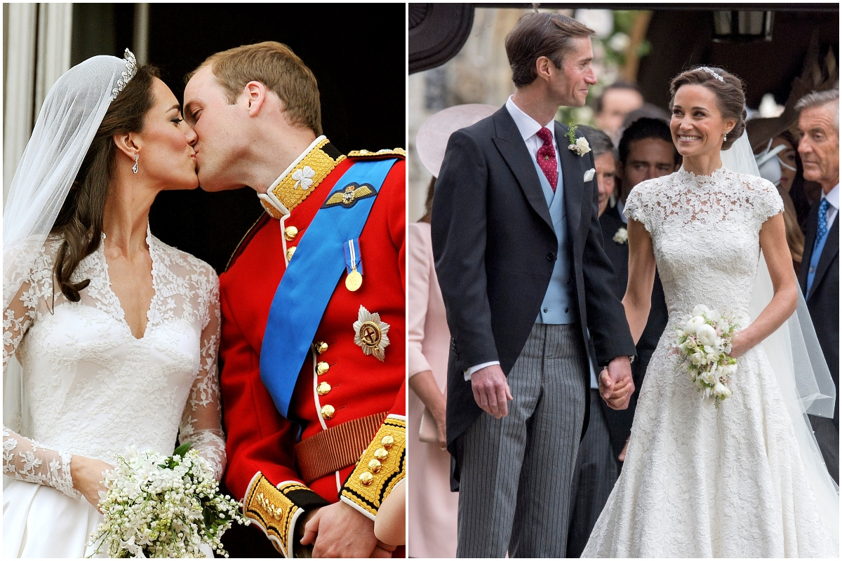Colaj Kate Middleton și Pippa Middleton. În prima imagine, Kate Middleton și prințul William în ziua nunții din anul 2011, sărutul pe balcon după ceremonei. Ea în rochie de mireasă, el în uniforma roșie. În a doua imagine, PIppa și soțul ei, James, la nunta din 2017, ea în rochie de mireasă, James în costum elegant, invitați în fundal
