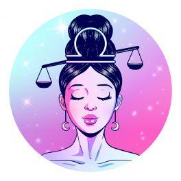 Zodia Balanță reprezentată de o femeie frumoasă cu părul prins într-un coc de care atârnă două talere