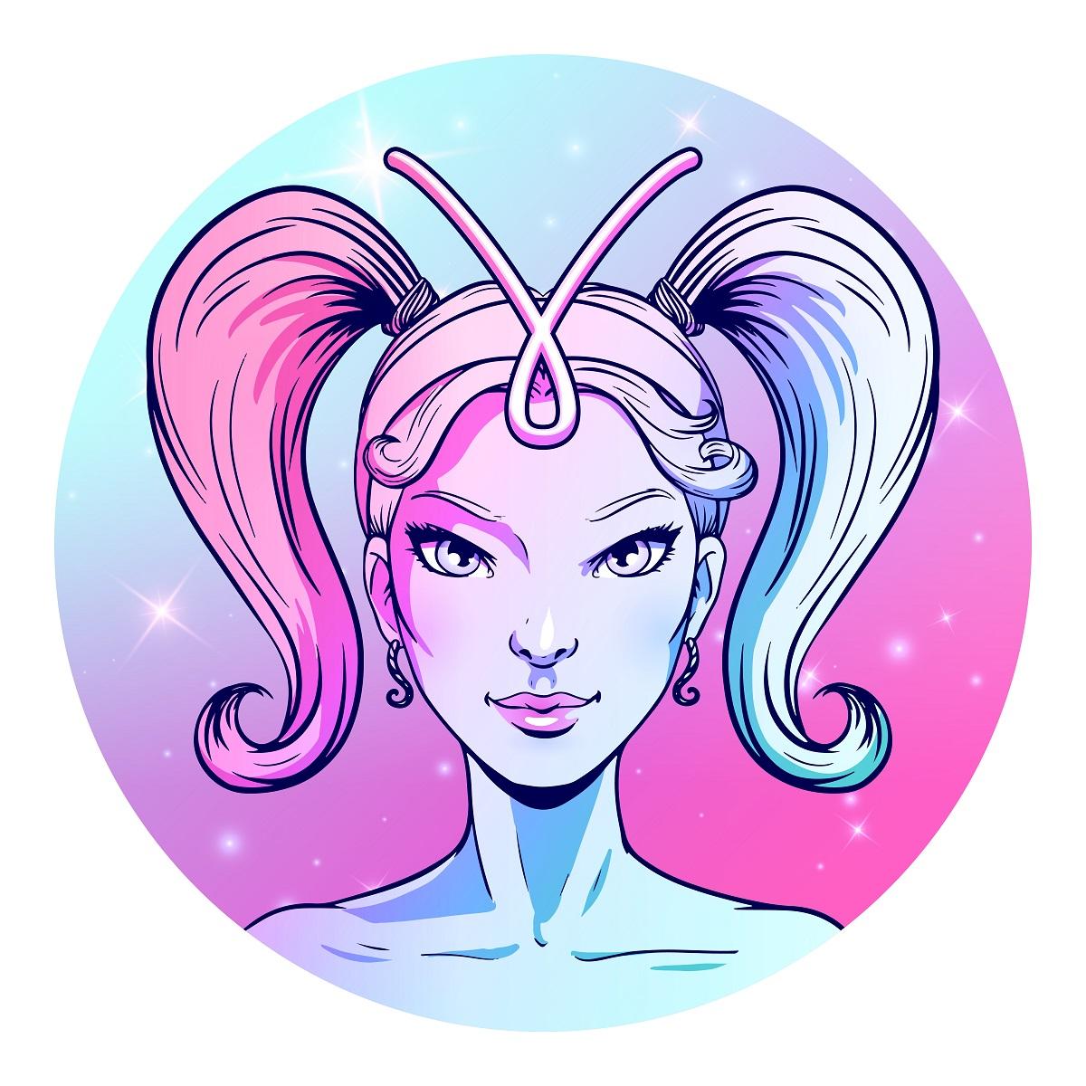 O femeie frumoasă în zodia Berbe cu codițele prinse care privește intens