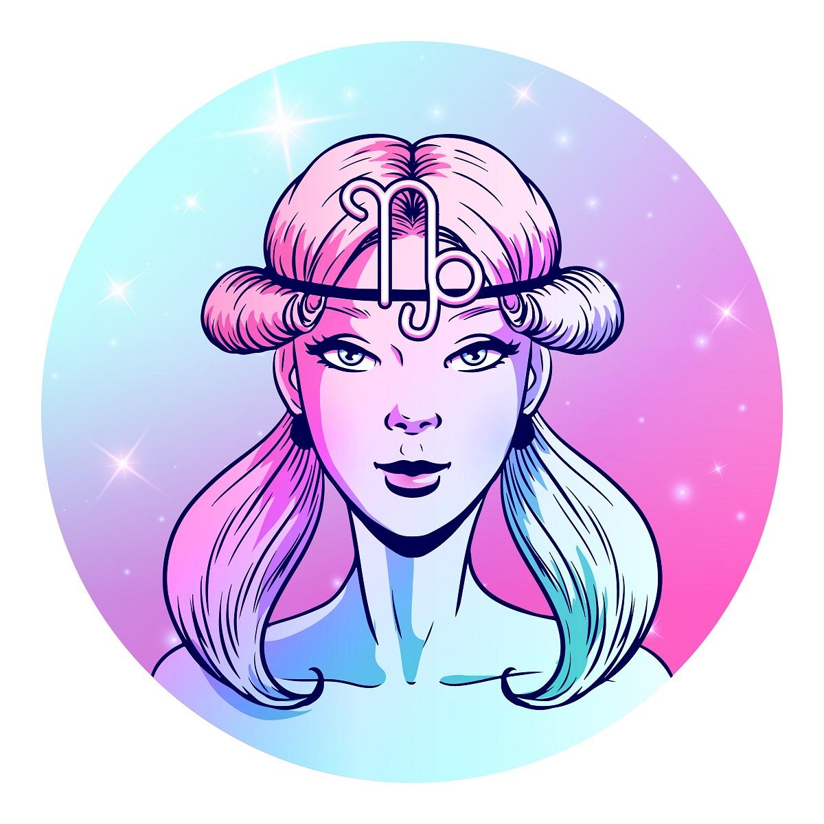 O femeie frumoasă cu părul prins în două cozi care simbolizează semnul zodiacal pentru Capricorn