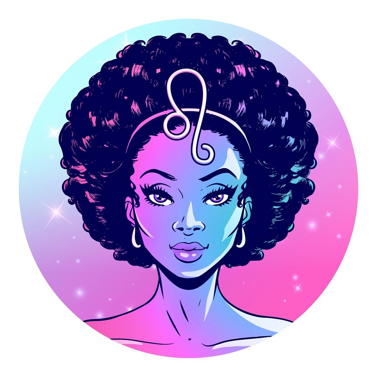 O femeie cu părul afro în timp ce are pe frunte semnul zodiacal pentru Leu